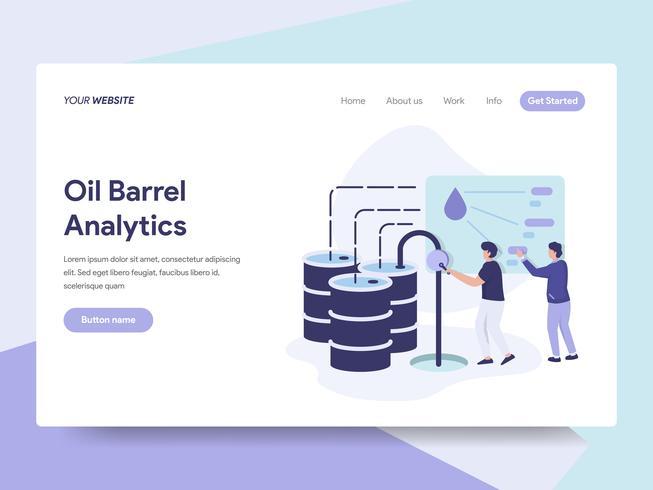 Molde da página da aterrissagem do conceito da ilustração do preço do tambor de óleo. Conceito de design plano isométrico de design de página da web para o site e site móvel.