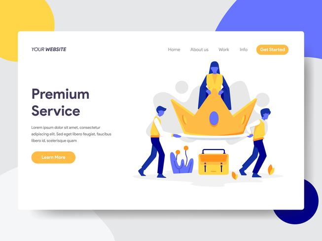 Landing page template of Premium Service Illustration Concept. Flat design concept of web page design for website and mobile website.Vector illustration