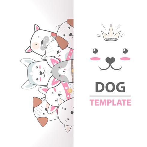 Nette, coole, hübsche, lustige, verrückte, schöne Hundeschablone.