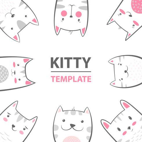 Cat, kitty characters - cartoon template. vector
