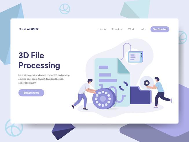Målsida mall för 3D-fildokumentillustrationskoncept. Isometrisk plattformkoncept för webbdesign för webbplats och mobilwebbplats. Vektorns illustration