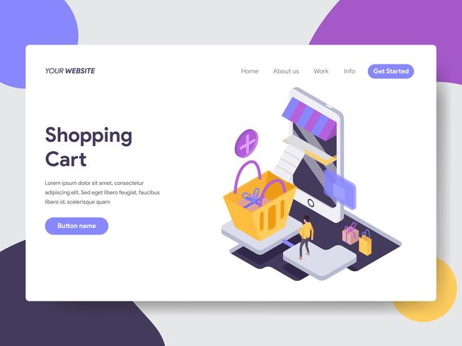 Landing page template of Online Tracking Illustration Concept. Isometric flat design concept of web page design for website and mobile website.Vector illustration vector