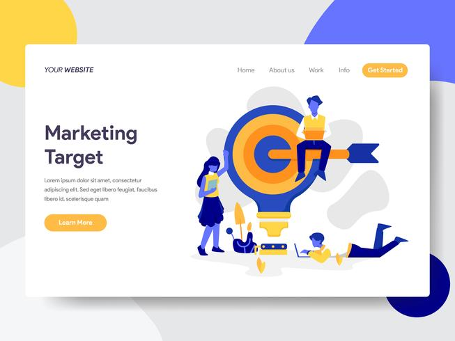 Landingspagina sjabloon van Marketing Target Illustratie Concept. Vlak ontwerpconcept webpaginaontwerp voor website en mobiele website Vector illustratie