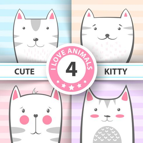 Set cute, pretty cat and kitty characters. vector