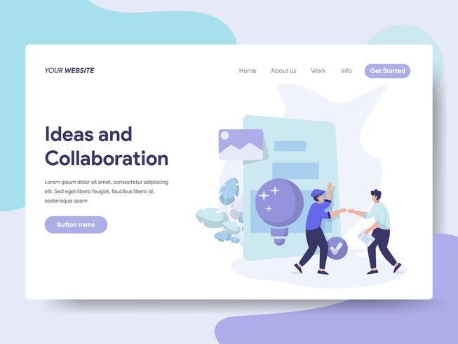 Landing-Page-Vorlage für Ideen und Collaboration Illustration Concept. Isometrisches flaches Konzept des Entwurfes des Webseitendesigns für Website und bewegliche Website. Vektorillustration