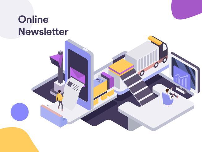Online Nyhetsbrev Isometrisk Illustration. Modernt plattdesign stil för webbplats och mobil website.Vector illustration