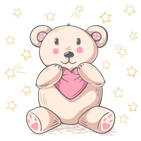 Netter Teddybärpanda umarmt Liebe.