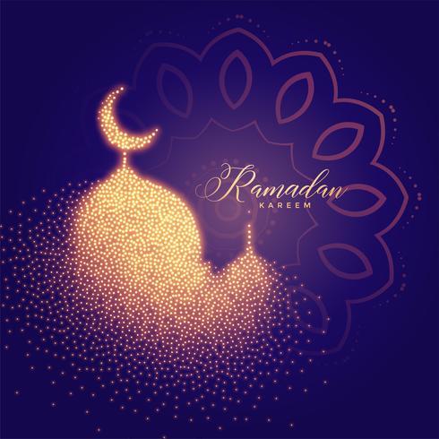 mosquée lumineuse créative faite de particules ramadan backgorund