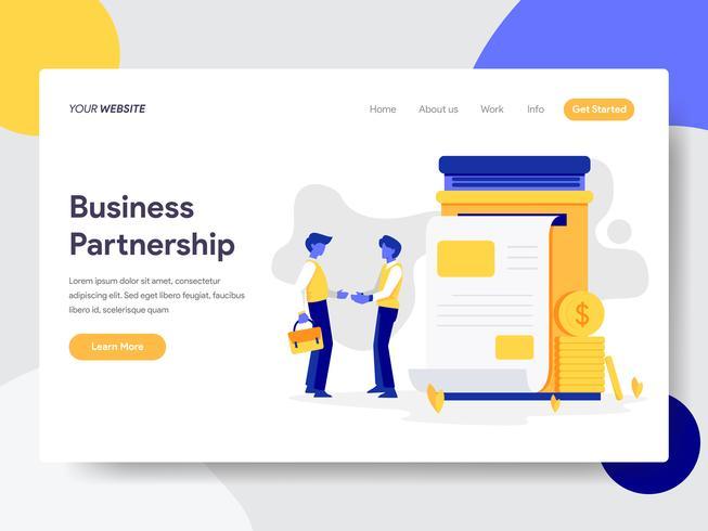 Målsida mall för affärs partnerskapsillustration. Plattformkoncept av webbdesign för webbplats och mobilwebbplats. Vektorns illustration vektor