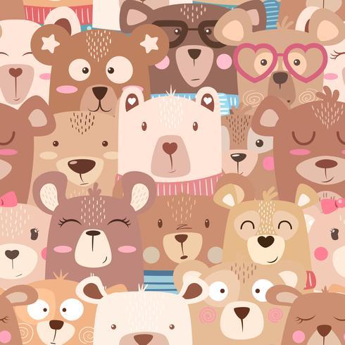Seamless pattern - cute set bear.