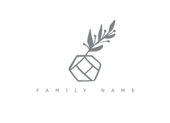 Family Name text. Vector trendy scandinavian floral hand drawn beauty.