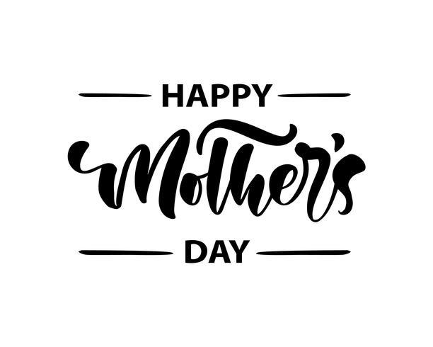 Feliz dia das mães, lettering texto de caligrafia preta vector. Frase manuscrita vintage moderna letras. Melhor mãe já ilustração