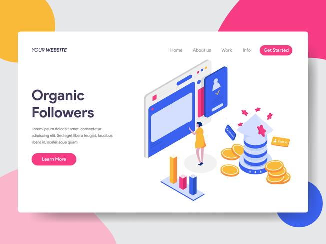 Landing page template of Organic Followers Isometric Illustration Concept. Isometric flat design concept of web page design for website and mobile website.Vector illustration vector