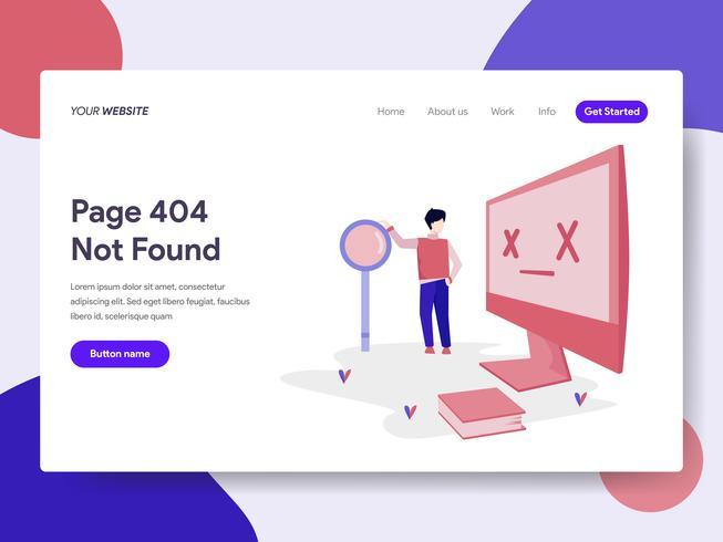 Modello di pagina di destinazione dell'errore 404. Concetto di design piatto moderno di progettazione di pagine Web per sito Web e sito Web mobile. Illustrazione di vettore