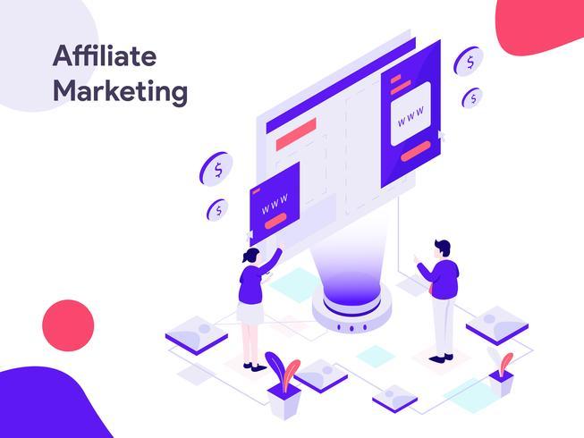 Illustration isométrique de marketing d'affiliation. Style design plat moderne pour site Web et site Web mobile. Illustration vectorielle vecteur