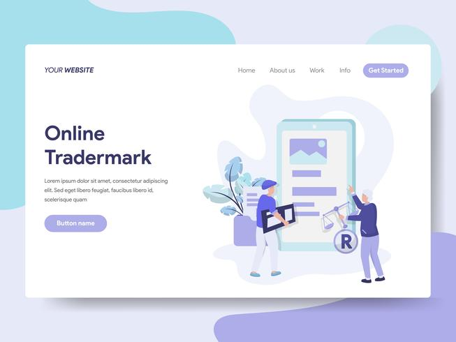 Landing page template of Online Copyright and Trademark Illustration Concept. Isometric flat design concept of web page design for website and mobile website.Vector illustration vector