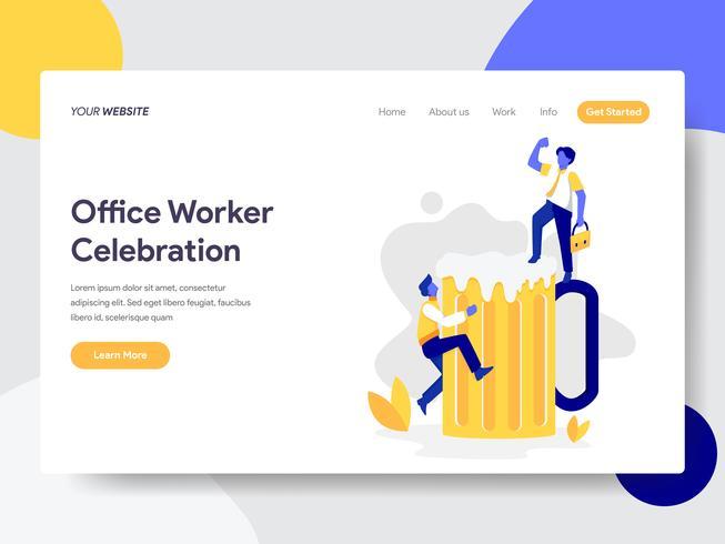 Målsida mall för Office Worker Celebration med Beer Illustration Concept. Plattformkoncept av webbdesign för webbplats och mobilwebbplats. Vektorns illustration