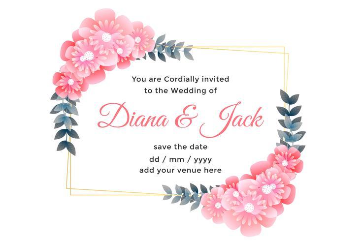 dekorativer Hochzeitskartendesign der schönen Blume