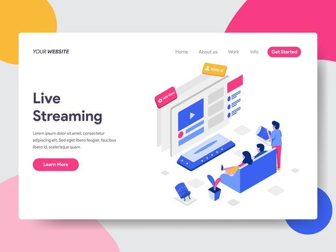 Molde da página da aterrissagem do conceito isométrico de Live Streaming Illustration. Conceito de design plano isométrico de design de página da web para o site e site móvel. vetor