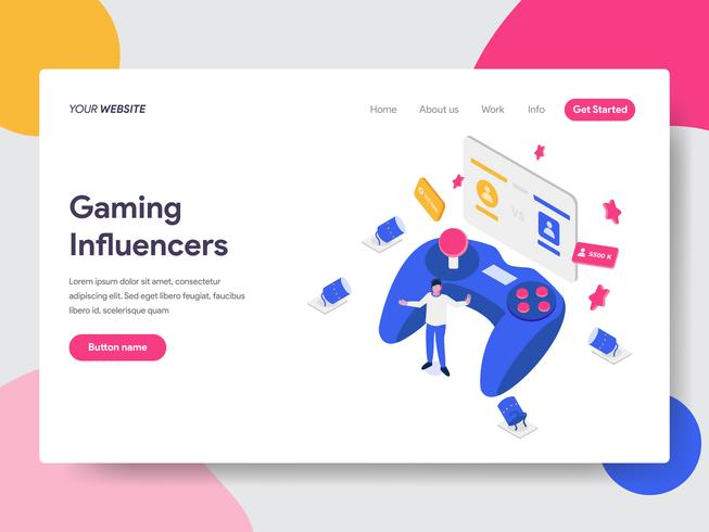 Landing page template of Gaming Influencers Illustration Concept. Isometric flat design concept of web page design for website and mobile website.Vector illustration vector