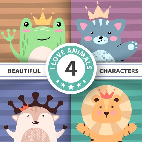 Cartoon cute hello animals - frog, cat, deer, lion.