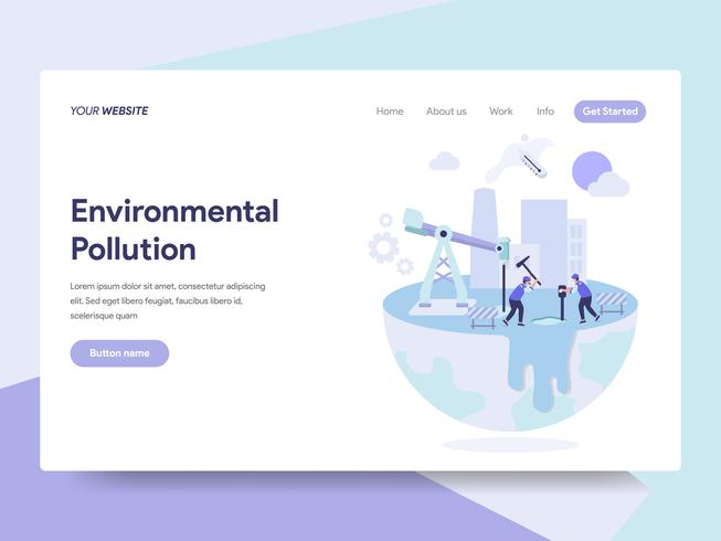 Landing page template of Environmental Pollution Illustration Concept. Isometric flat design concept of web page design for website and mobile website.Vector illustration