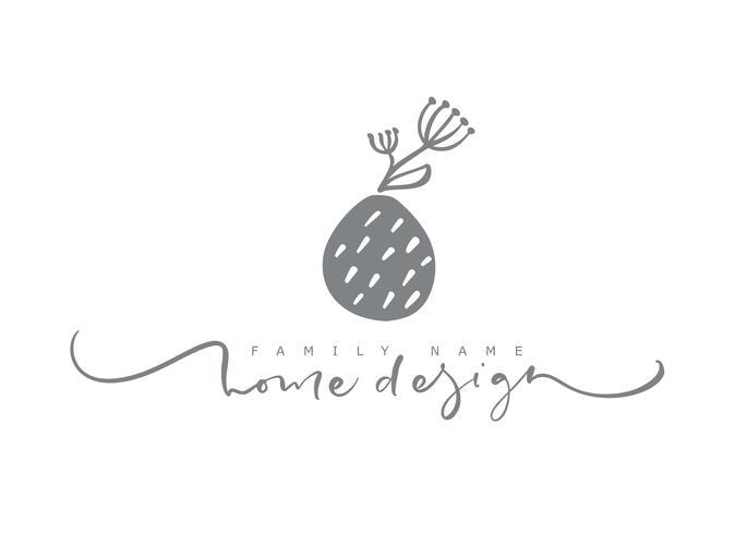 Home Design Calligraphic text. Bellezza alla moda disegnata a mano floreale scandinava di vettore.
