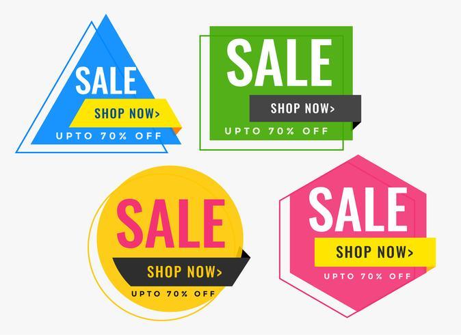 geometrische vorm verkoop banners in veel kleuren