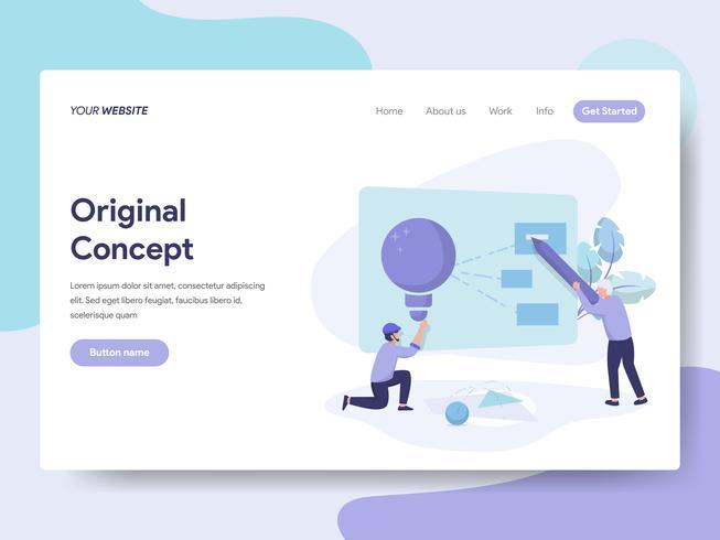 Målsida mall för Original Concept Illustration Concept. Isometrisk plattformkoncept för webbdesign för webbplats och mobilwebbplats. Vektorns illustration