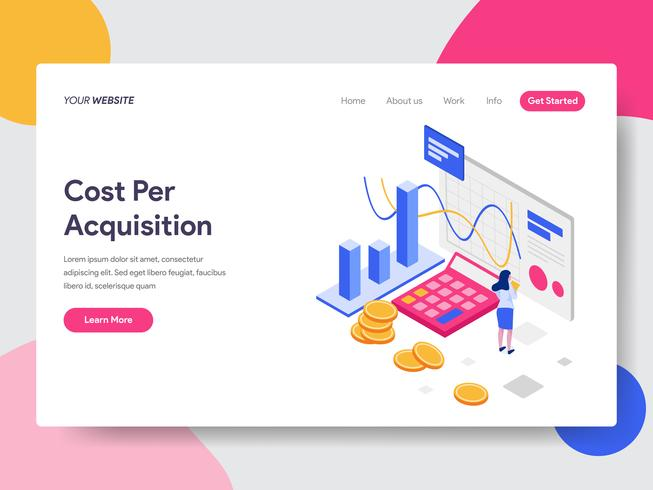 Landing page template of Cost Per Acquisition Isometric Illustration Concept. Isometric flat design concept of web page design for website and mobile website.Vector illustration