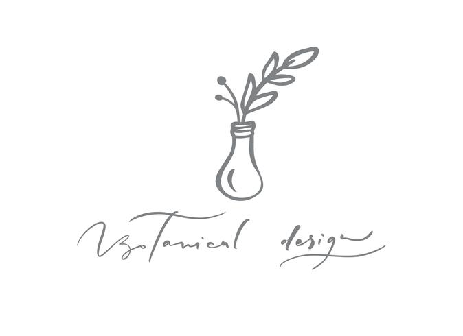 Botanical Design text. Vector trendy scandinavian floral hand drawn beauty.