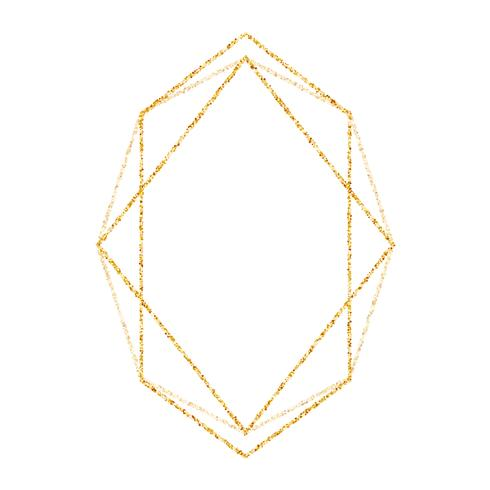 Geometric gold frame for wedding or birthday invitation background.