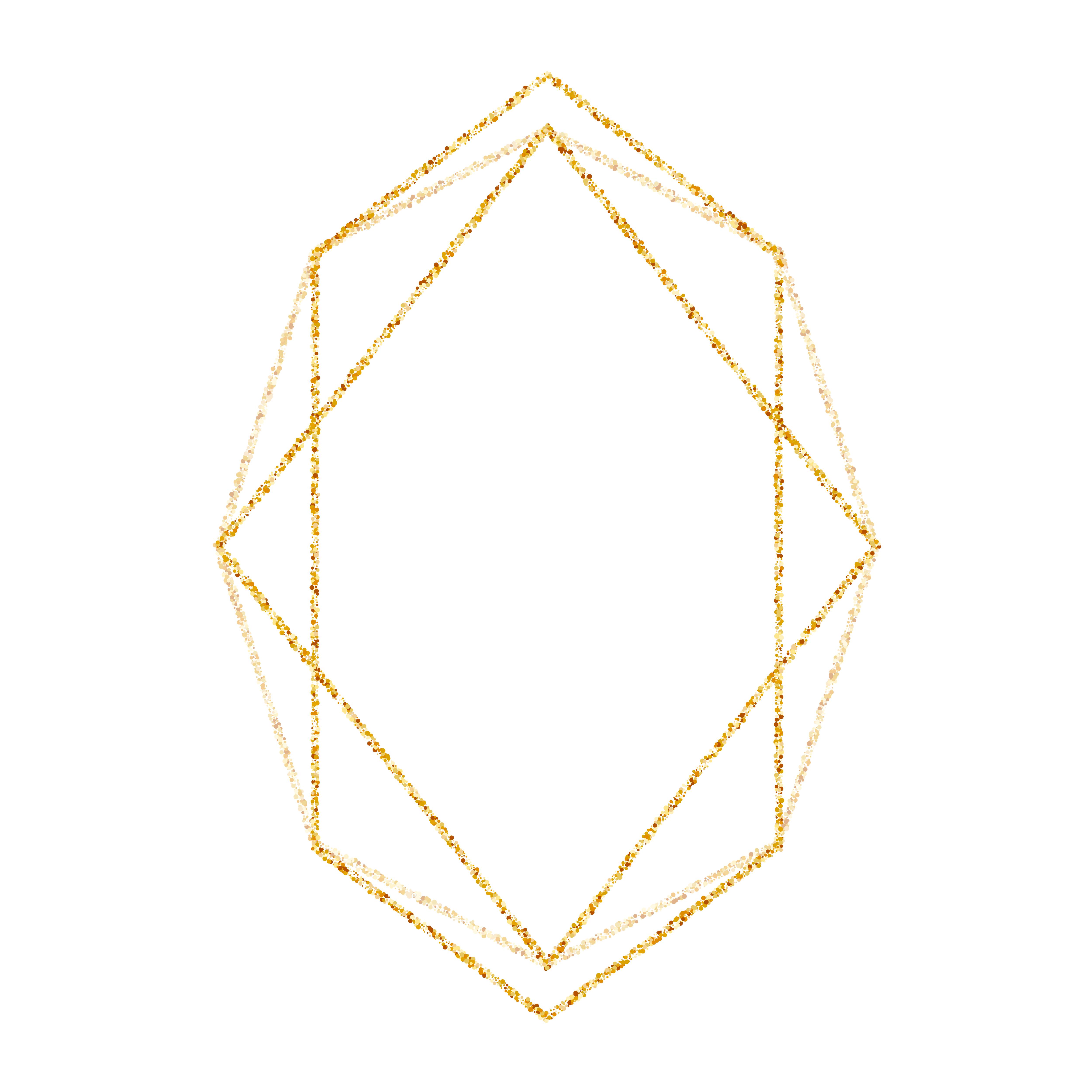 Geometric Gold Frame For Wedding Or Birthday Invitation