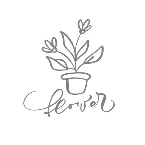 Flower hand drawn simple floral icon vector from nature florist logo beauty.