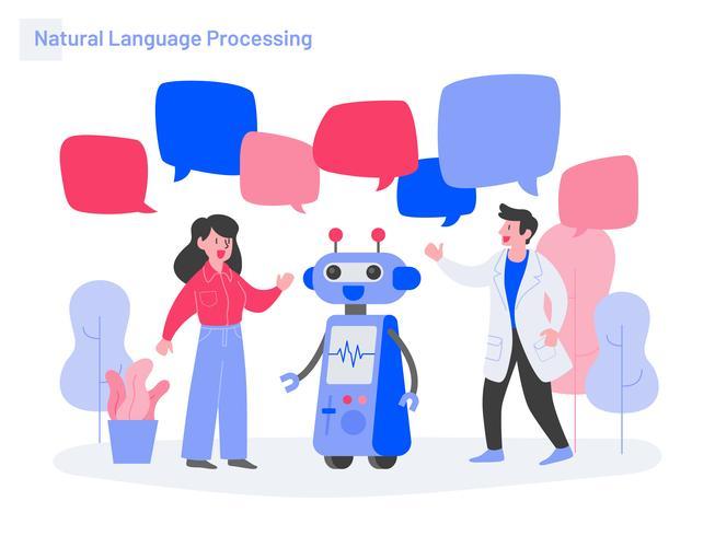 Concepto de ilustración de procesamiento de lenguaje natural. Concepto de diseño plano moderno de diseño de página web para sitio web y sitio web móvil. Ilustración de vector