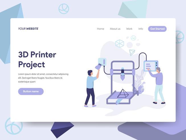 Molde da página da aterrissagem do conceito da ilustração da impressora 3D. Conceito de design plano isométrico de design de página da web para o site e site móvel.