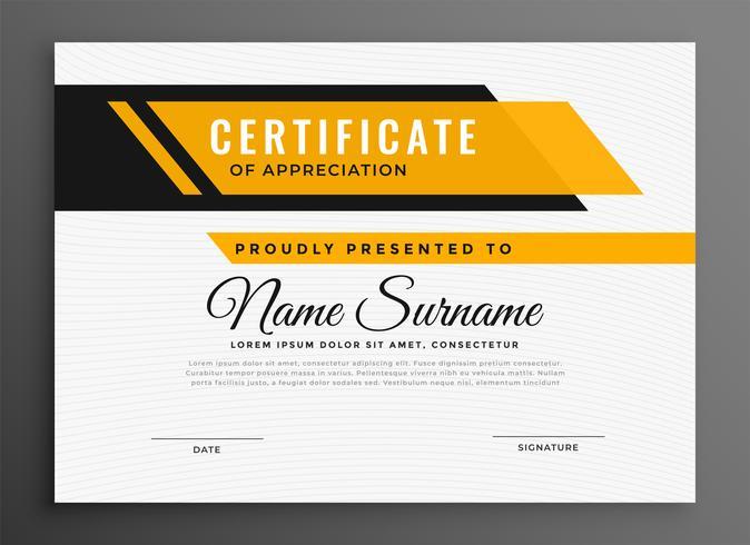 Zertifikat Auszeichnung Diplom Vorlage in gelber Farbe
