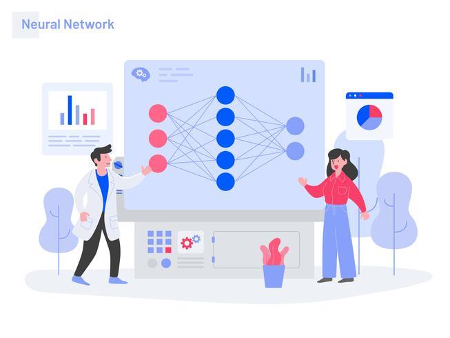 Neuronales Netz-Illustrations-Konzept. Modernes flaches Konzept des Entwurfs des Webseitendesigns für Website und bewegliche Website. Vektorillustration vektor