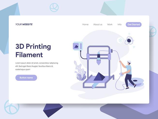 Målsida mall för 3D Utskrift Filament Illustration Concept. Isometrisk plattformkoncept för webbdesign för webbplats och mobilwebbplats. Vektorns illustration