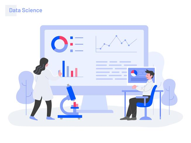 Data Science Illustratie Concept. Modern plat ontwerpconcept webpaginaontwerp voor website en mobiele website Vector illustratie