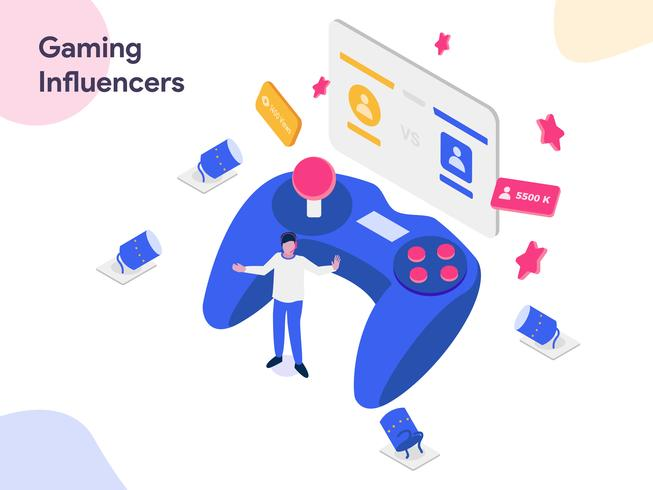 Gaming Influencers Isometric Illustration. Modernt plattdesign stil för webbplats och mobil website.Vector illustration vektor