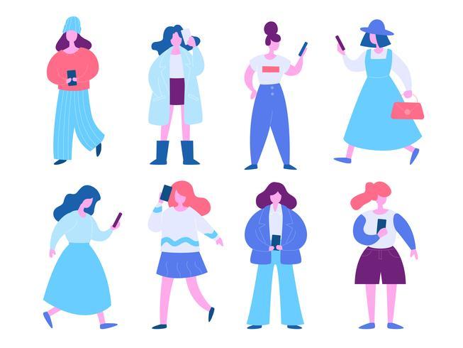 Kvinna med mobiltelefon illustration uppsättning. Modernt plattdesignkoncept av webbdesign för webbplats och mobilwebbplats. Vektorns illustration