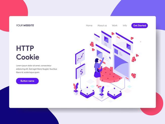 Modello di pagina di destinazione del concetto di illustrazione cookie HTTP. Concetto di design piatto isometrica della progettazione di pagine Web per sito Web e sito Web mobile. Illustrazione di vettore