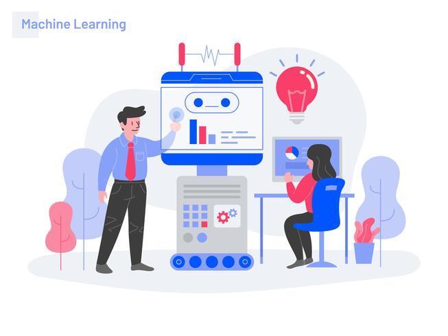 Conceito da ilustração da aprendizagem de máquina. Conceito moderno design plano de design de página da web para o site e site móvel.