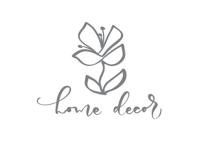 Home decor hand drawn simple floral icon vector from nature florist logo.