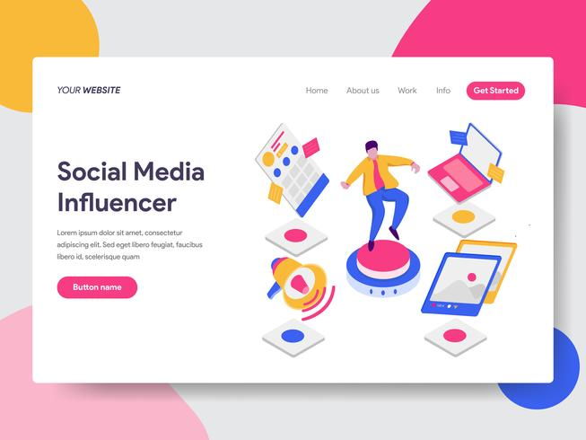 Landing page template of Social Media Influencer Illustration Concept. Isometric flat design concept of web page design for website and mobile website.Vector illustration vector