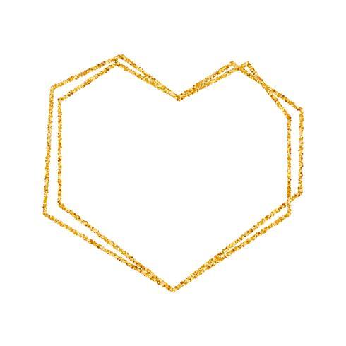 Geometrisch gouden hartkader voor huwelijk of verjaardagsuitnodigingsachtergrond. vector