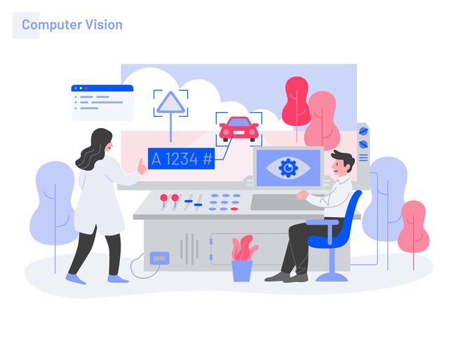 Computer Vision Illustration Concept. Modernt plattdesignkoncept av webbdesign för webbplats och mobilwebbplats. Vektorns illustration