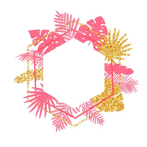Na moda verão Tropical Vector frame com folhas de palmeira e lugar para o seu texto.