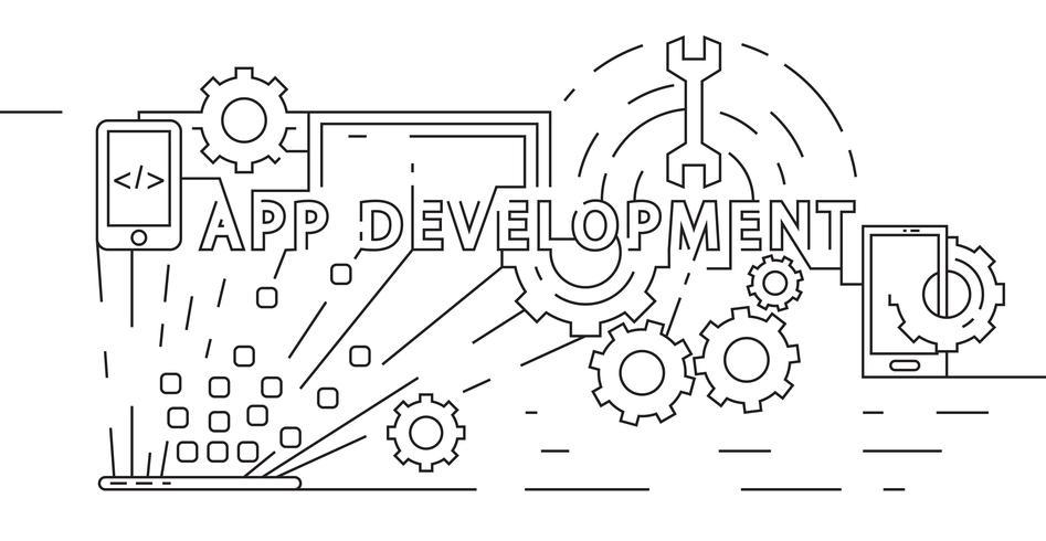Anwendungsentwicklungskonzept. Software-Entwickler-Illustration. Flaches Liniendesign in geometrischer Form. Schwarzweiss-Gekritzel-Art-Vektor-Fahne, Hintergrund oder Landing Page.